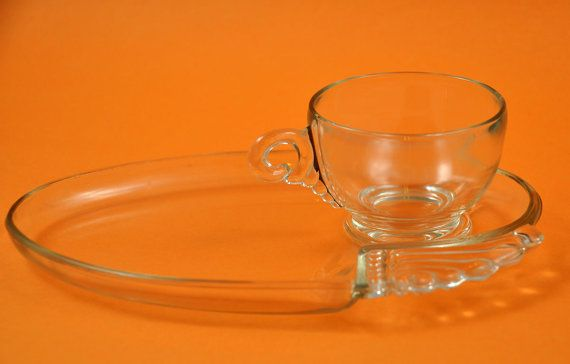 Sale Federal Glass Art Deco Snack Set by JollyPollyPickins | Me ...