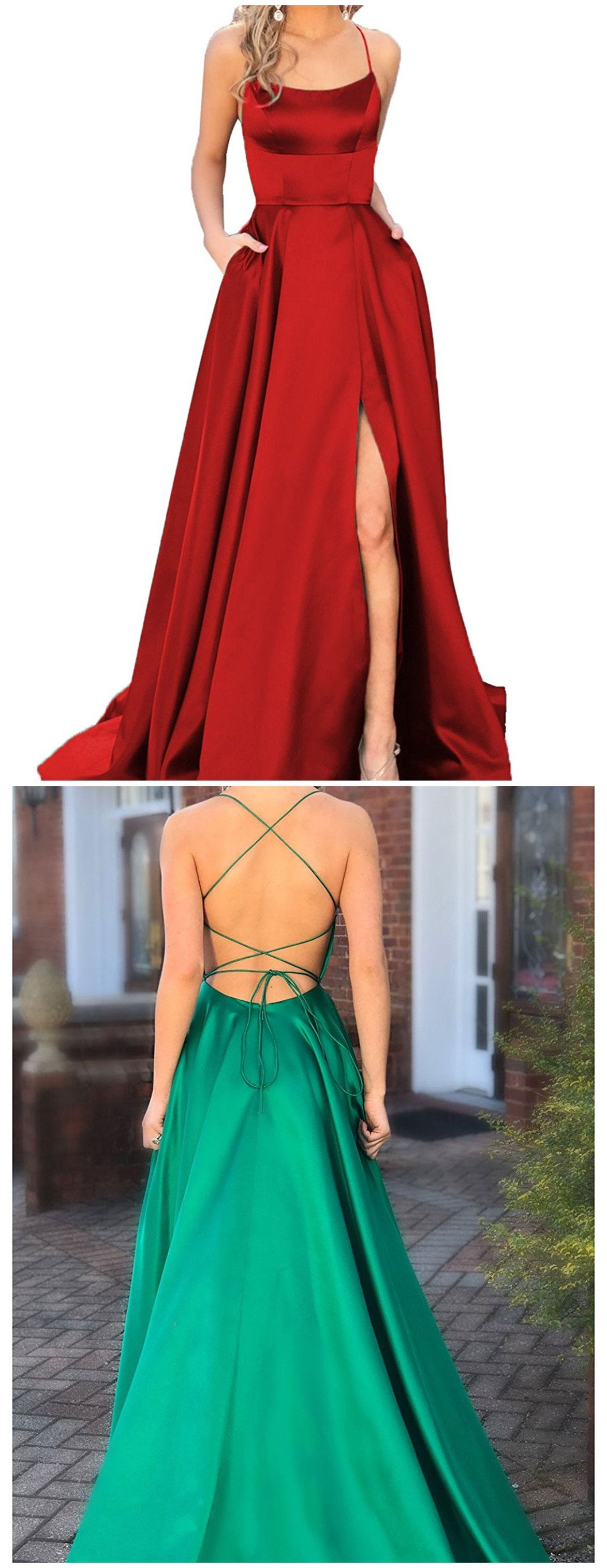 Sexy backless spaghetti straps prom dress simple long prom dresses
