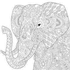 stylized elephant isolated on white background freehand sketch for