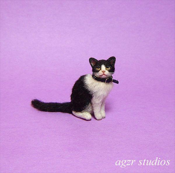 OOAK 1:12 Dollhouse Miniature Cat Kitten Kitty Pet Handmade Furred  Realistic