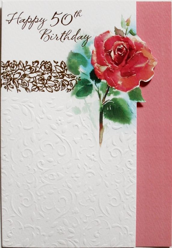 Happy 50th Birthday Card Suitable For Male Or Female Red Rose Theme Brand New