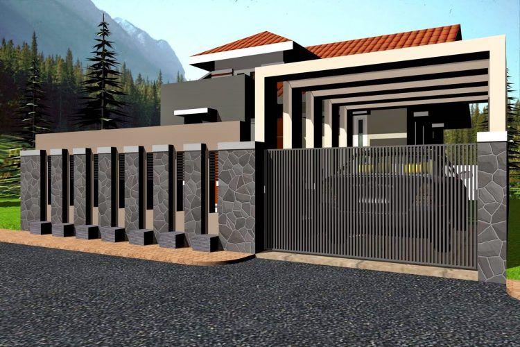 50 Desain Pagar Batu Alam Minimalis Terbaru R17al House