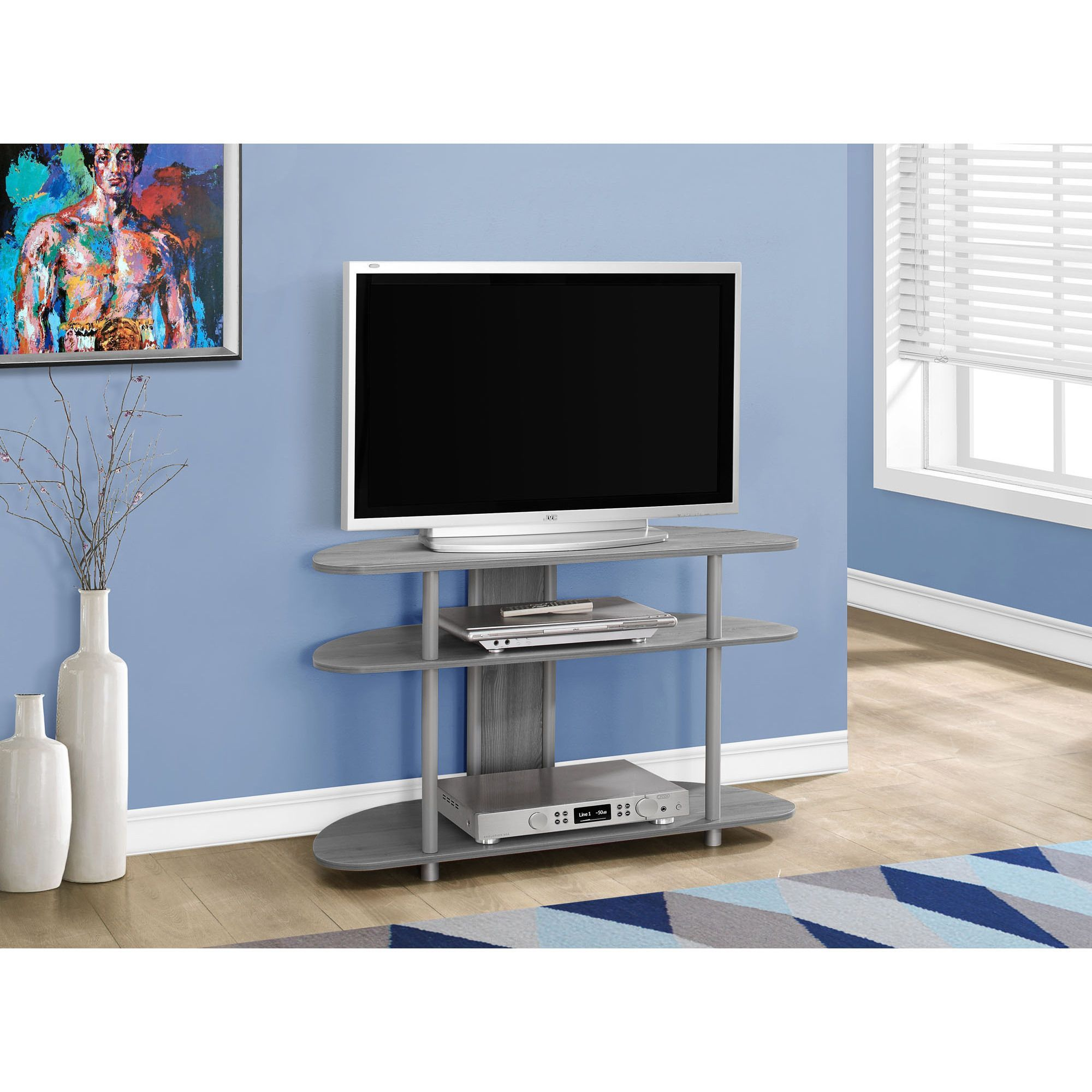 Perfect For Small Spaces This Slick Grey Corner Tv Stand Is Angled
