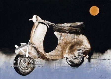 Vespa i LLuna Enric Aguilar 65x46cm @Gale Rossía de Arte Vidrart Menorca #art #gallery