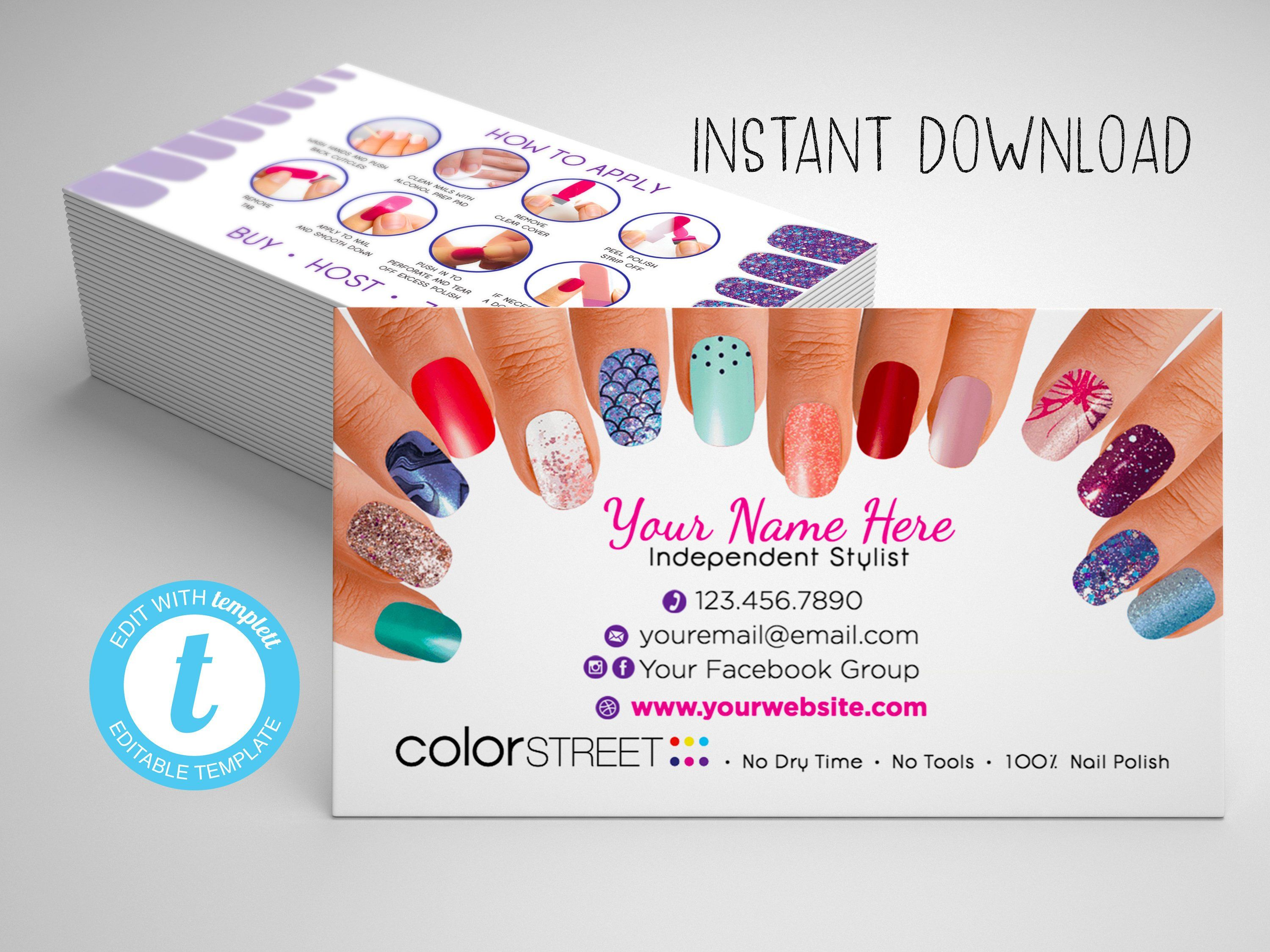 Color street business card template painted nails editable