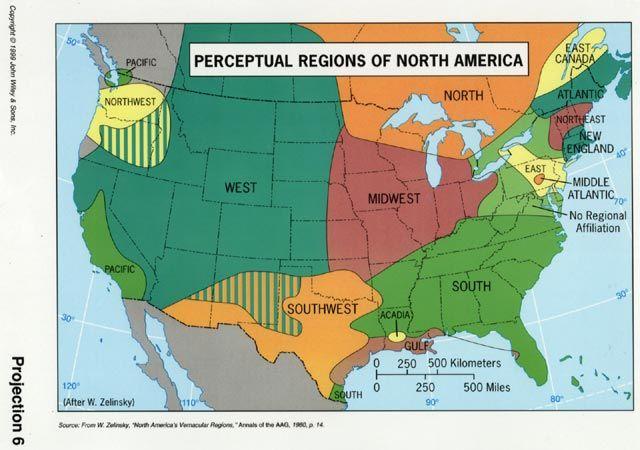 Perceptual Regions of North America (US Cultural Regions ...