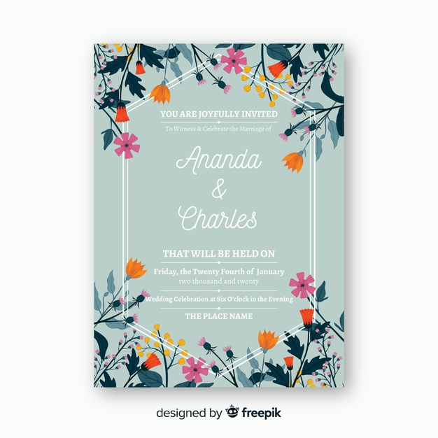 Download Floral Wedding Invitation Card Template For Free