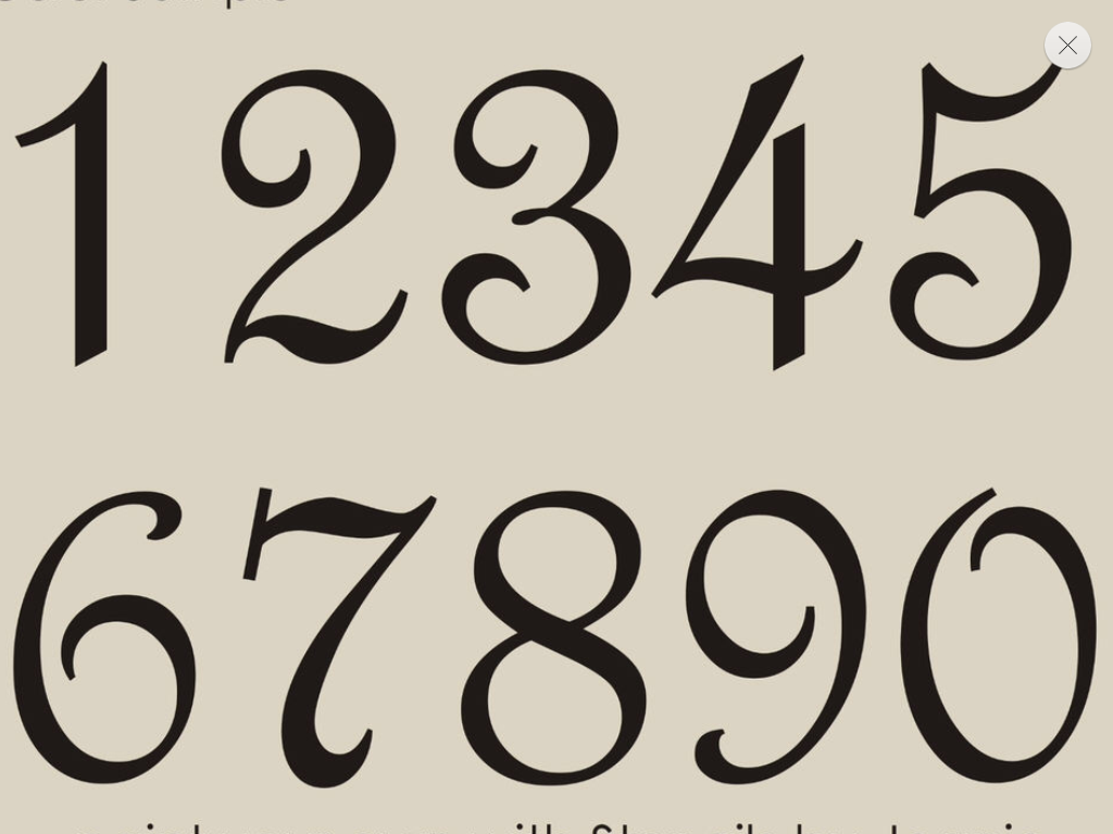 Fancy Numbers Fonts Vintage French Cursive Number Calligraphy
