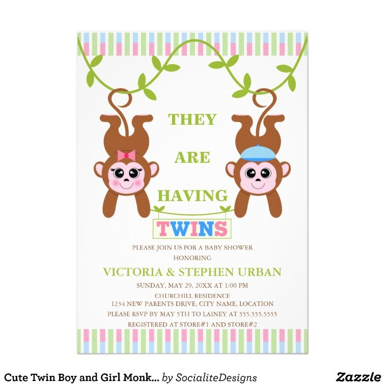 Cute Twin Boy and Girl Monkey Baby Shower Personalized Invitations ...