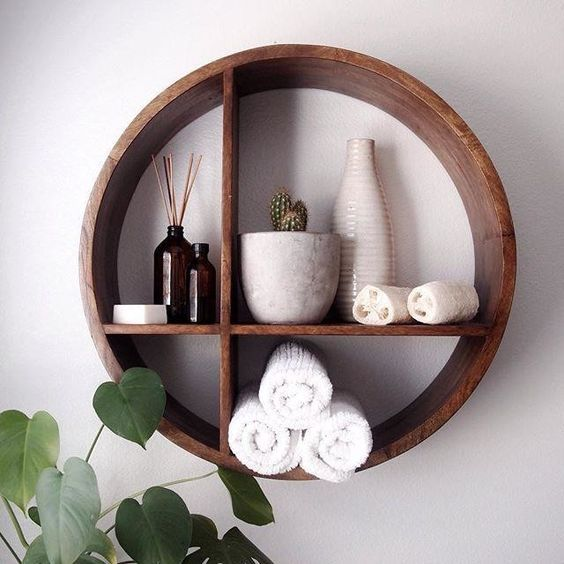 Photo of Round Shaped Wood Wall Shelf