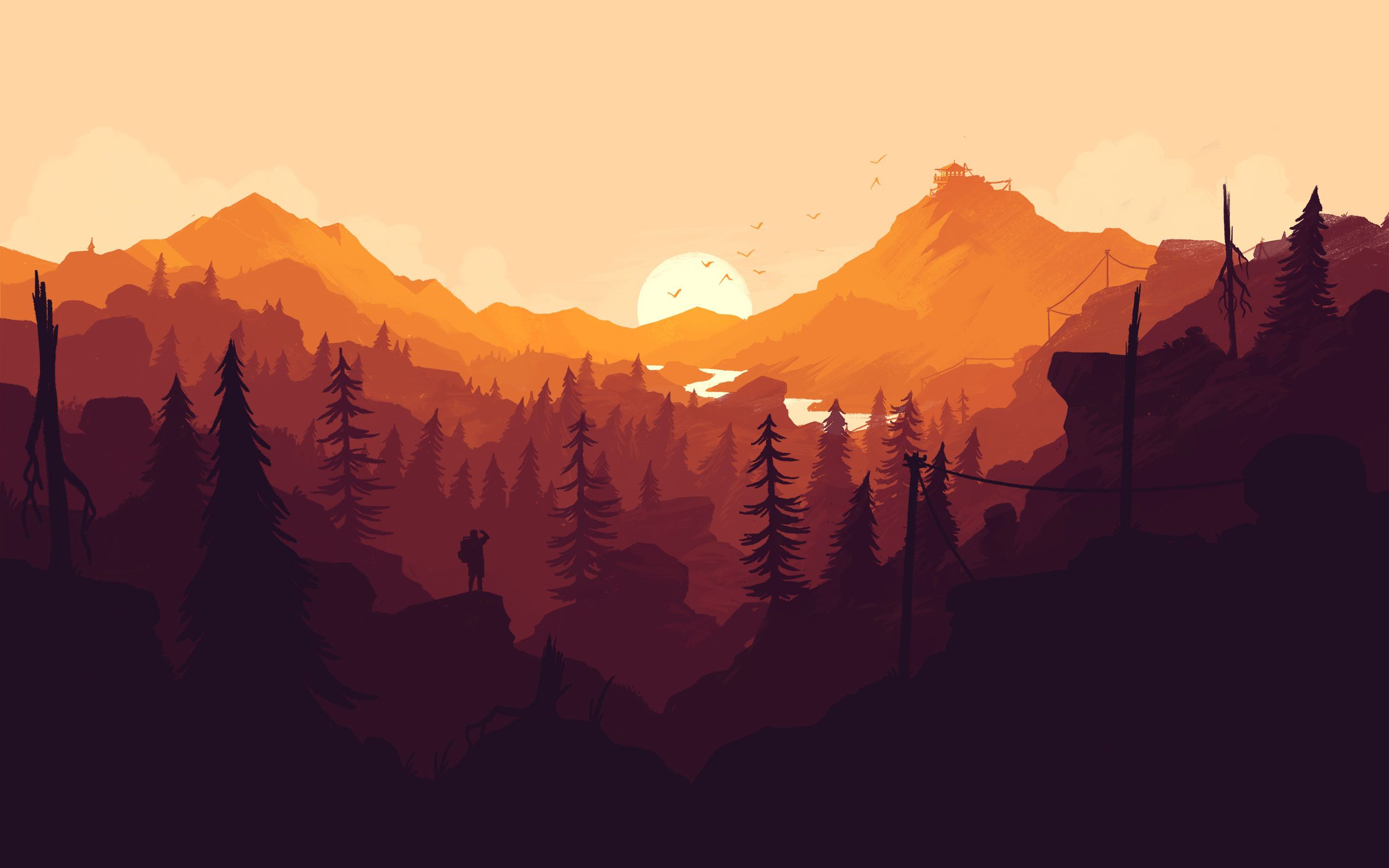 Firewatch Imgur Landscape Wallpaper Landscape Art Mountain Wallpaper