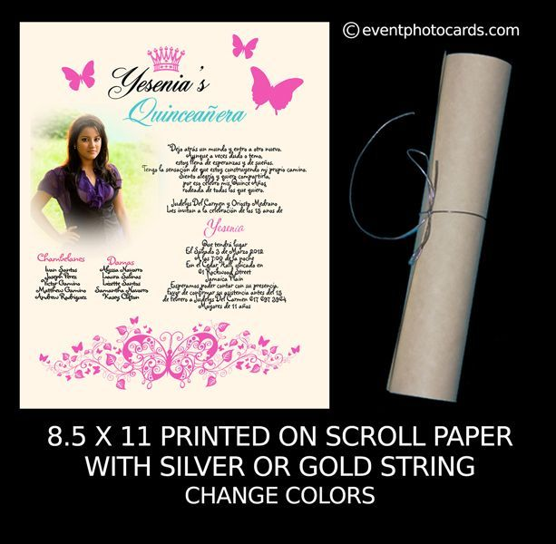 Butterfly Scroll Quinceanera Invitation with cord any color