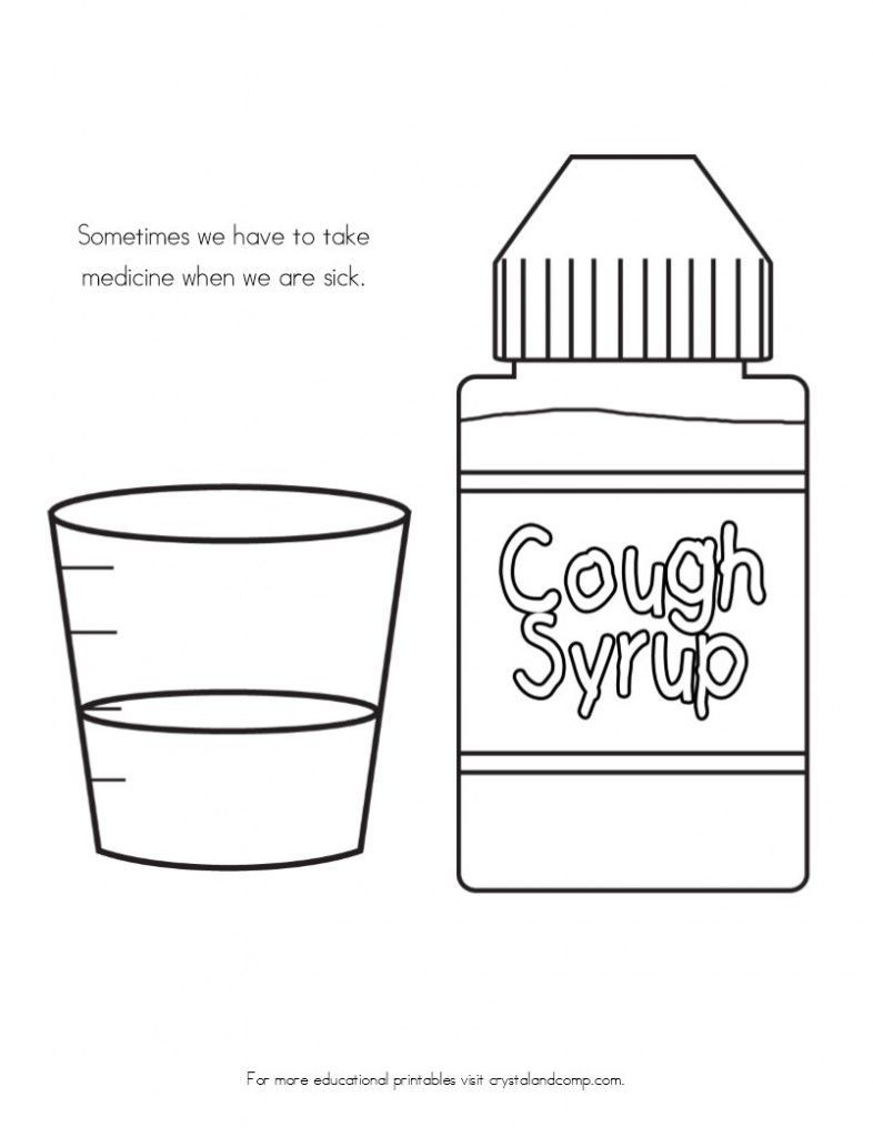 No More Spreading Germs Coloring Pages for Kids | Cough medicine ...