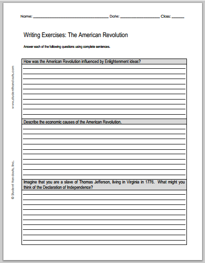 American Revolution Essay Questions  Free To Print Pdf File  American Revolution Essay Questions  Free To Print Pdf File Living A Healthy Lifestyle Essay also Science And Literature Essay  Position Paper Essay