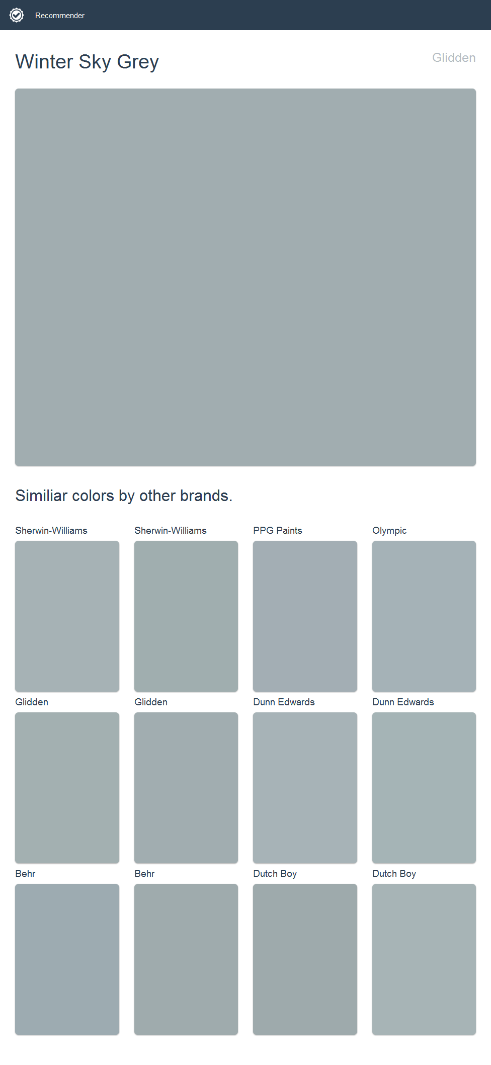 Winter Sky Grey Glidden Click The Image To See Similiar Colors By Other Brands