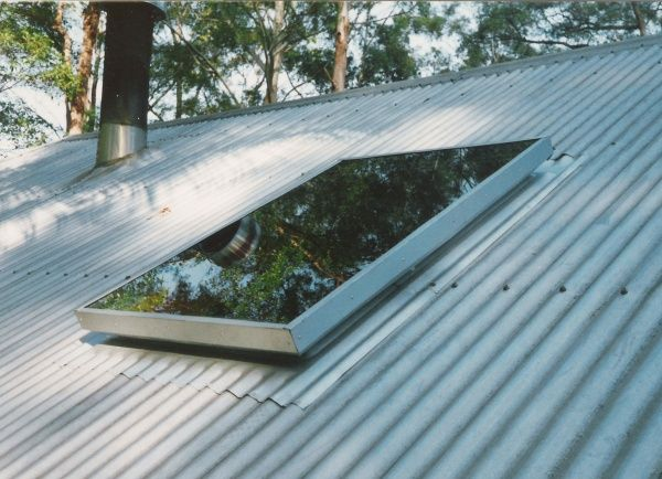 Matty Exterior View Of Skylight And Corrugated Iron Roof And Slow Combustion Chimney Skylight Roof Skylight Corrugated Metal Roof