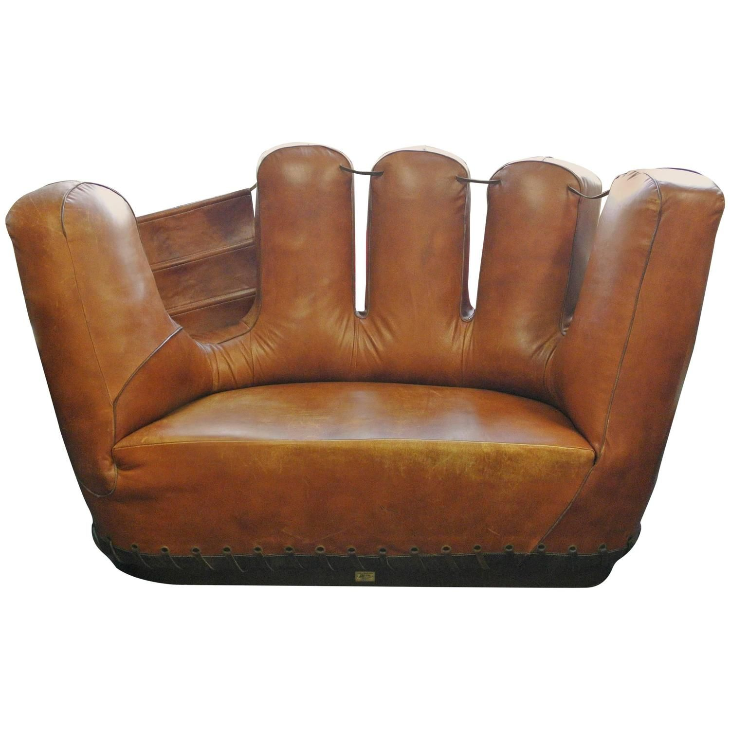 Exceptional Stiles Brothers Leather Baseball Glove Sofa