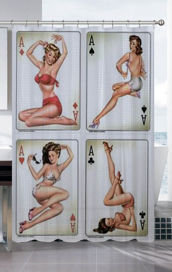 Rare 4 Sexy Retro Aces Pin Up Girls Shower Curtain By Adosplusenak