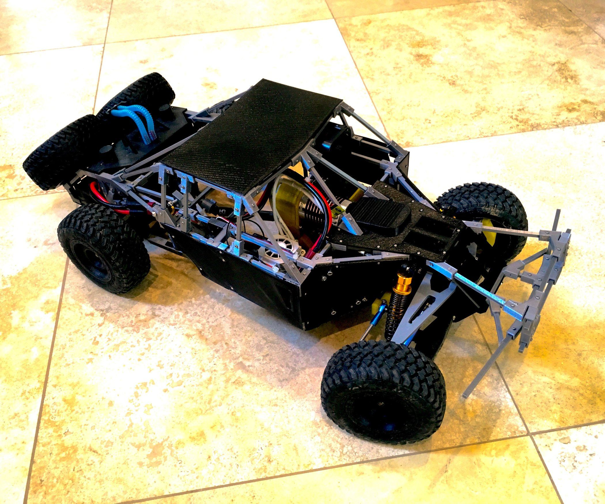 3d Printed 1 10 Remote Controlled Trophy Truck Scale Rc Suspension Madness Trophy Truck Truck Scales Trophy