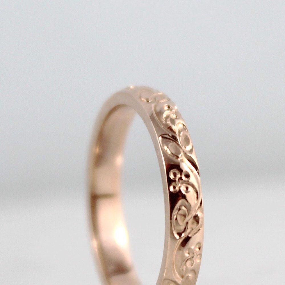 14K Rose Gold Wedding Band - Design Band - Stacking Ring - Pattern Wedding Band - Pink Gold Wedding Band by EngagedJewelry on Etsy https://www.etsy.com/listing/122299900/14k-rose-gold-wedding-band-design-band
