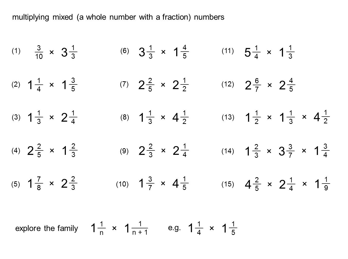 Multiplying Mixed Numbers Worksheet In