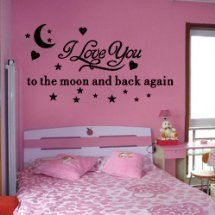 I Love You to the Moon and Back Again - Olivia Wall Sayings Vinyl Art Decal Quote Sticker DIY Wall Stickers Wall Decals for Living Rooms, Lettering Vinyl Decal Mural Home Wall Decor