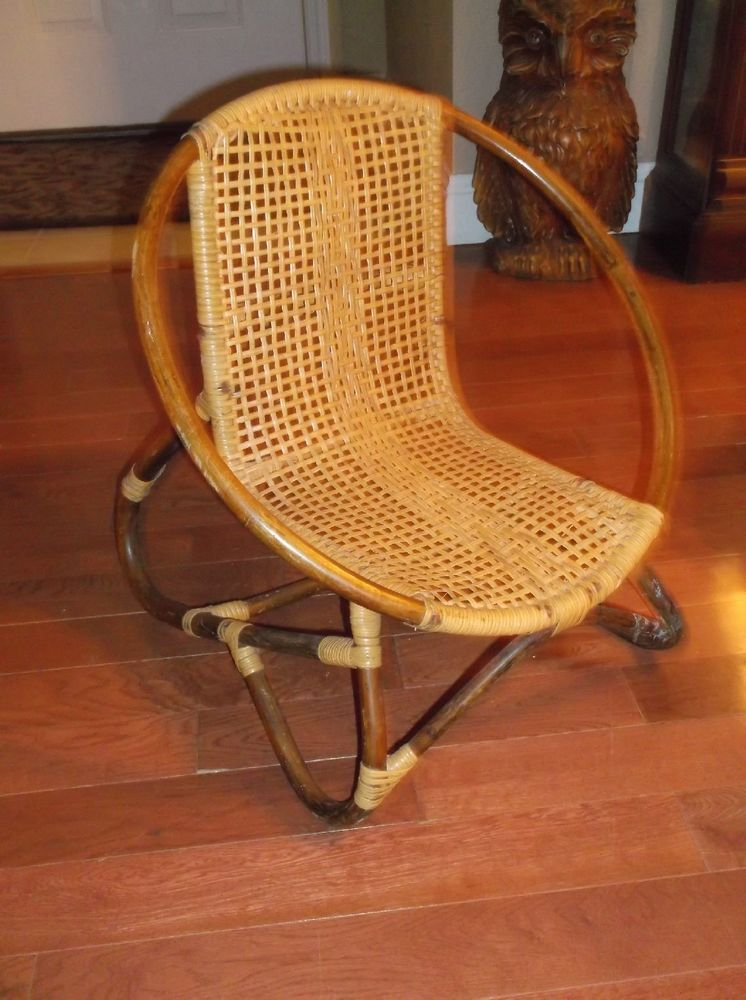 Antique Vtg Child Rattan Wicker Bent Wood Bamboo Chair