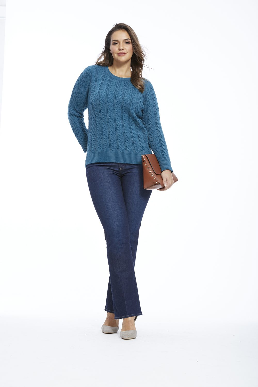 Cable-knit Sweater in Turquoise by Lima  Available in sizes 0X-5X