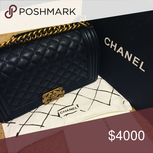3e0c43558d831a Chanel la boy Medium chanel le boy in black caviar with antique gold  hardware. CHANEL Bags