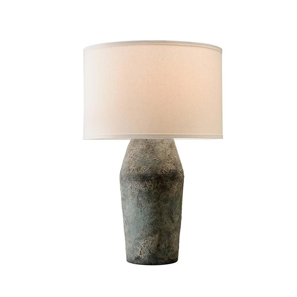 Troy Lighting Artifact 27 In Moonstone Table Lamp With Off White Linen Shade Ptl1005 Tall Table Lamps Table Lamp Lamp
