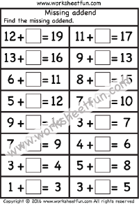 Missing Addend - One Worksheet   Математика
