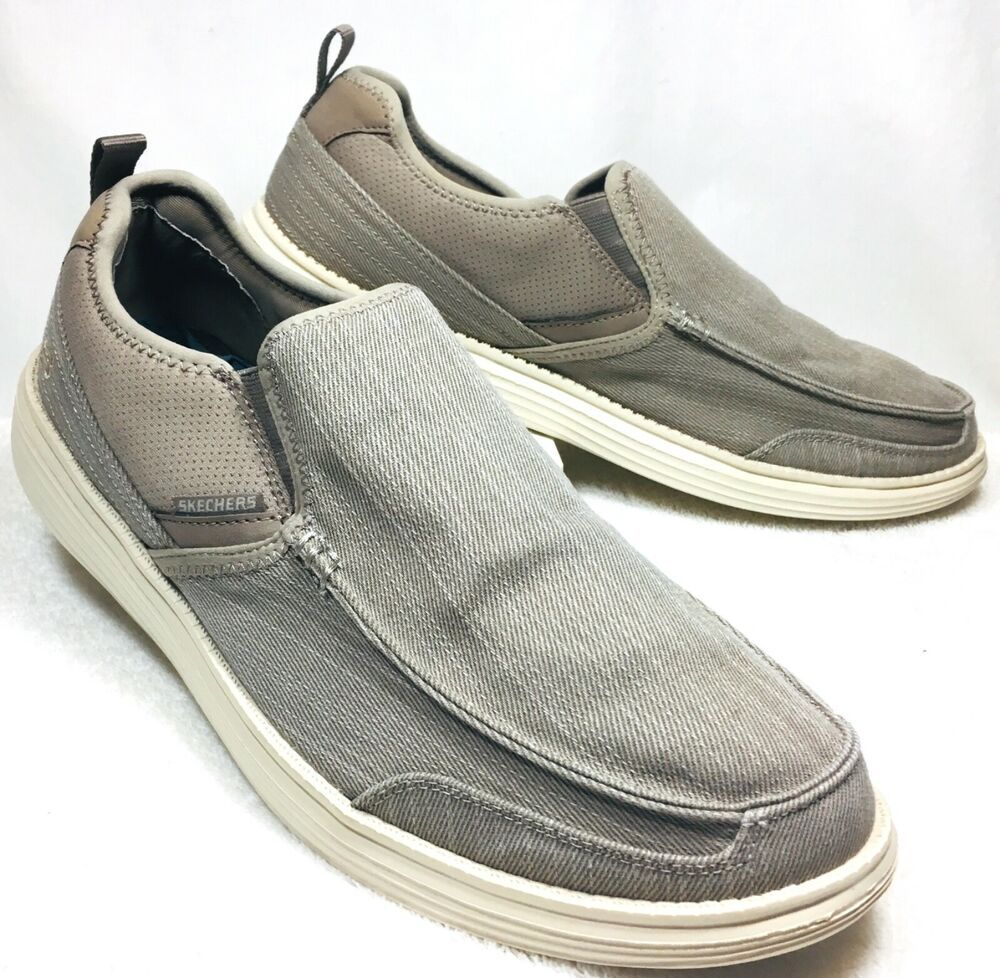 Skechers Men S Relaxed Fit Delton Canvas Loafers Shoes Taupe Size