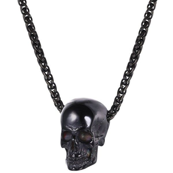 Amazoncom U7 Men Gothic Skull Necklace Gun Black Metal Chain