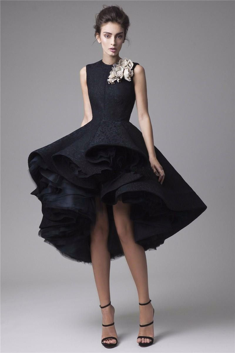 Black Ball Gown High Collar Short Front Long Back Lace Flowers ...