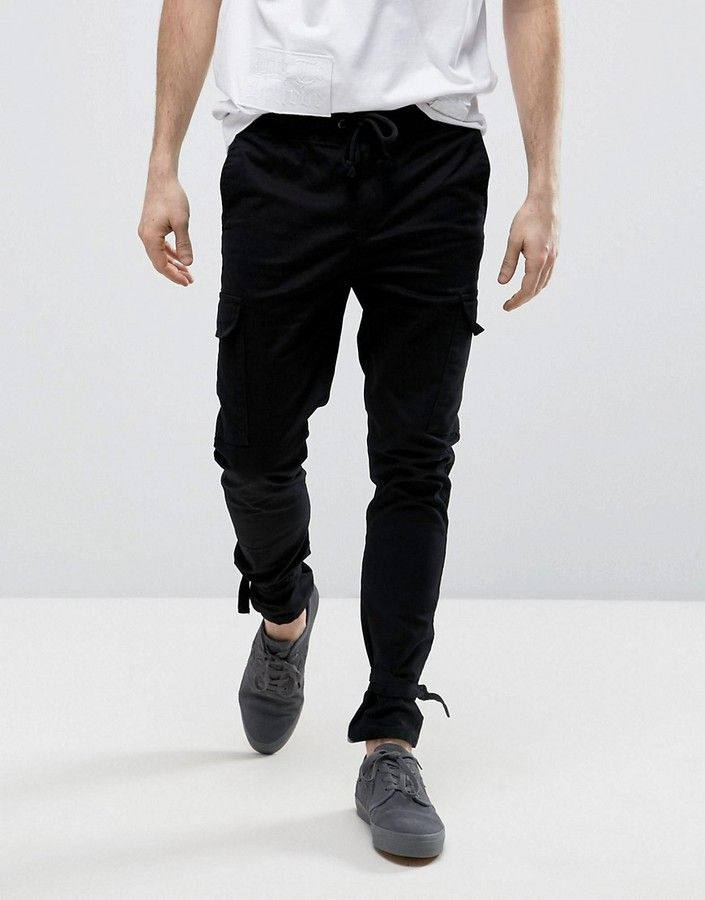 7a028fda869e6 ASOS Skinny Cargo Joggers With Ankle Strap In Black