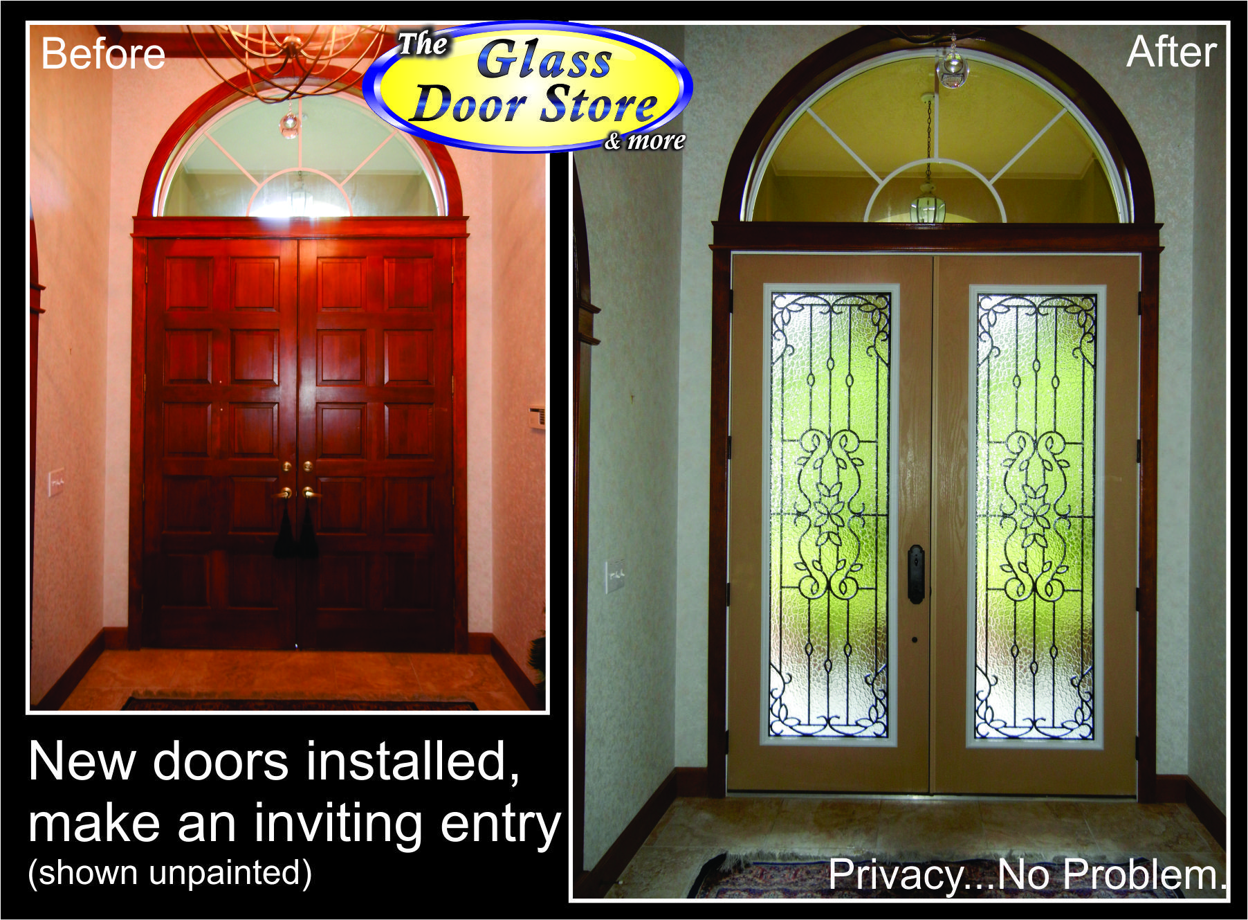 Wrought Iron Glass Inserts In Fiberglass Doors Here Are Replacing Old Wood Theglassdoor Com