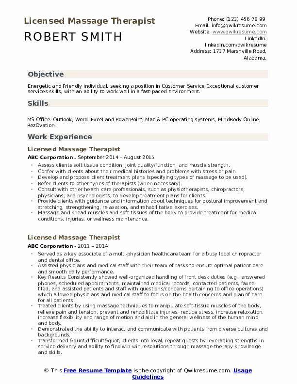Massage Therapist Resume Examples Best Of Licensed Massage