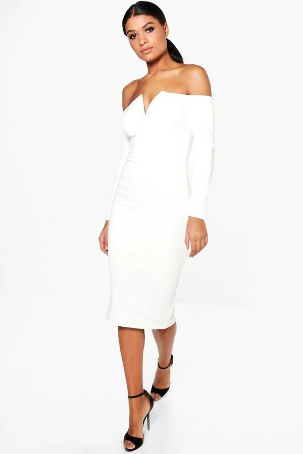 9b5013c018da Jody V Plunge Off Shoulder Midi Dress | Midi dresses, Boohoo and ...