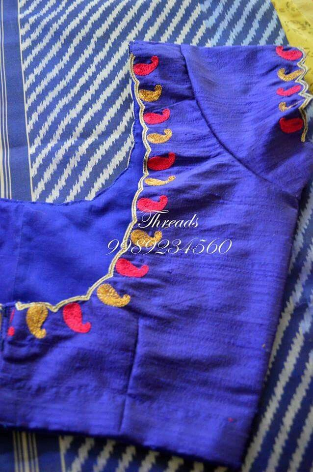 Simple thread embroidery sarees exclusive pinterest