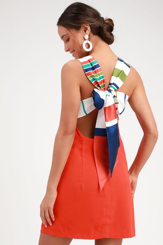a3ea73cc4da9 Cute Red Orange Dress - Tie-Back Dress - Orange Backless Dress