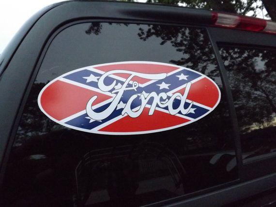 Ford Logo With Rebel Flag Vehicle Window DecalSticker X - Rebel flag truck decals   online purchasing