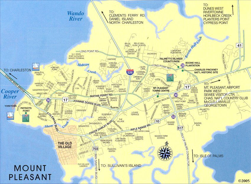 Mount Pleasant Sc Map Including The Old Village Charleston
