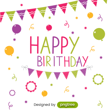 Birthday Party Card With Colorful Flags