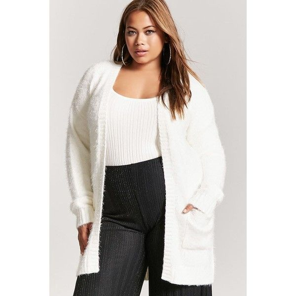 Forever21 Plus Size Fuzzy Knit Cardigan (€26) ❤ liked on Polyvore featuring tops, cardigans and ivory