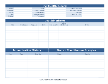 Printable Pet Health Record Pet Health Record Pet Health Pet Care Printables
