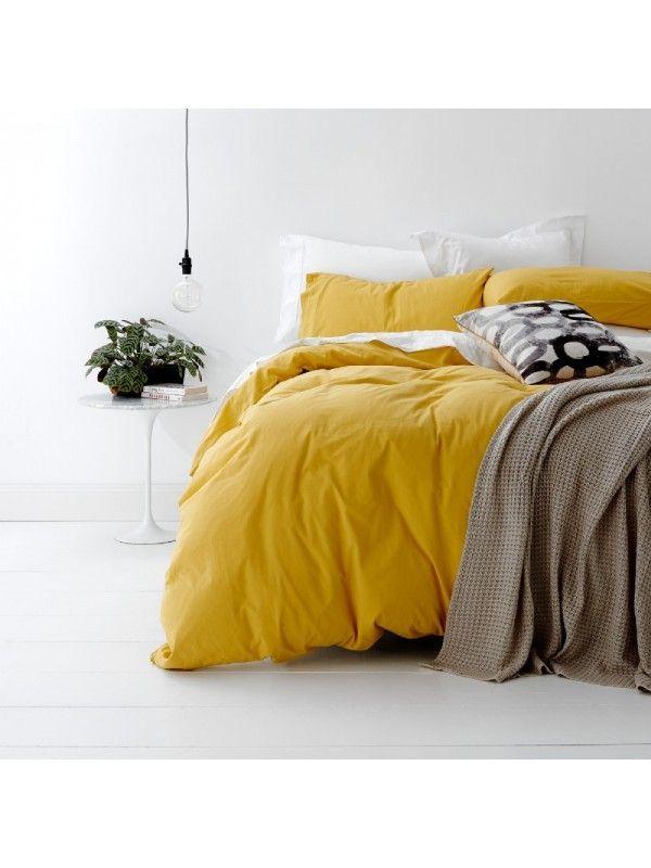 European #Vintage #Wash #Cotton #Quilt #Cover #Set #| #Mustard #Yellow #mustardyellow