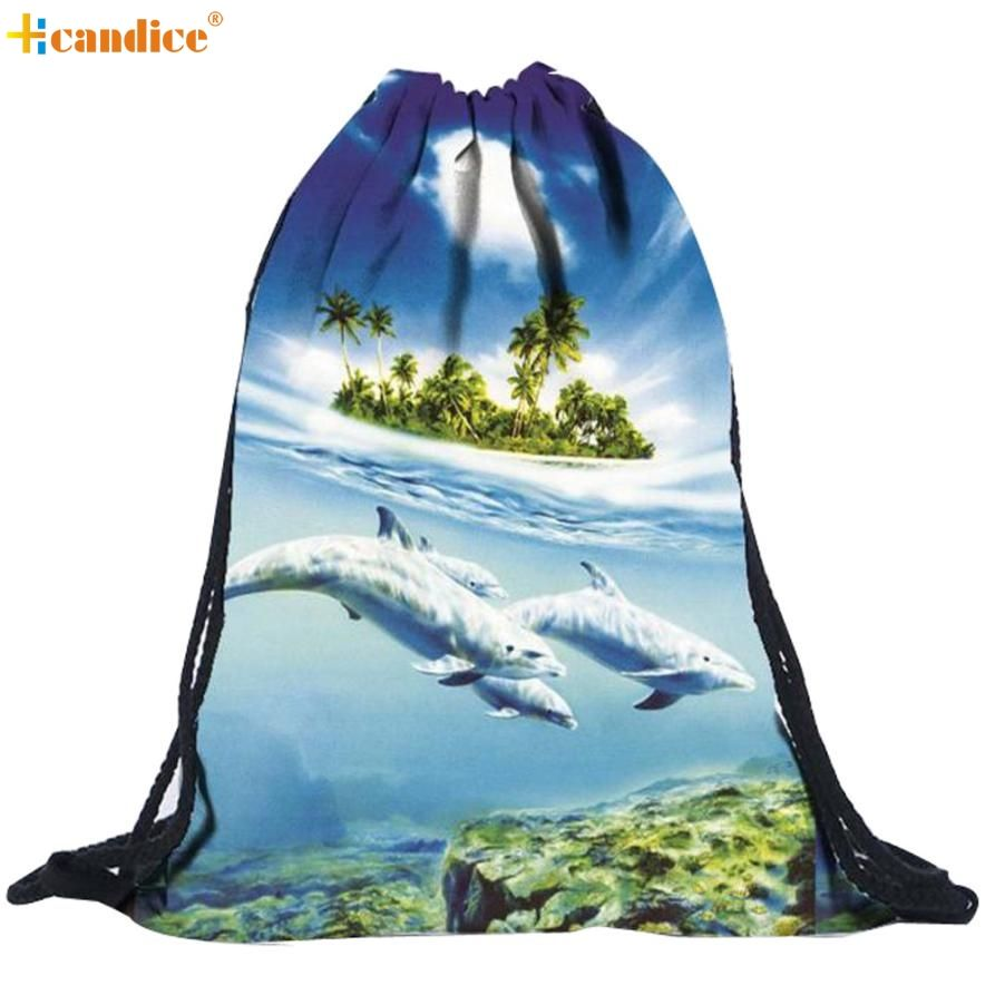 Naivety 2016 New Unisex 3D Printing Backpack Drawstring Bags Gift For Christmas AUG30 drop shipping