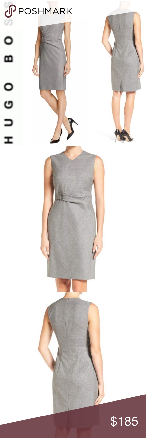 be1f64c2 MAKEANOFFER🔥HUGO BOSS VIRGIN WOOL SHEATH DRESS 14 Gorgeous HUGO BOSS  Dakirsa virgin wool dress