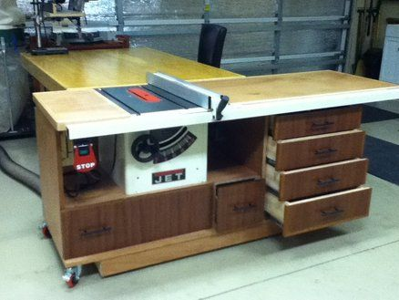 Tablesaw Workstation For My Jet Contractor Saw Woodworking Table Saw Homemade Tables Router Table Plans