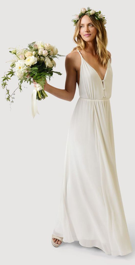 Boho Inspired Wedding Dress Flower Crown And Bouquet Casual